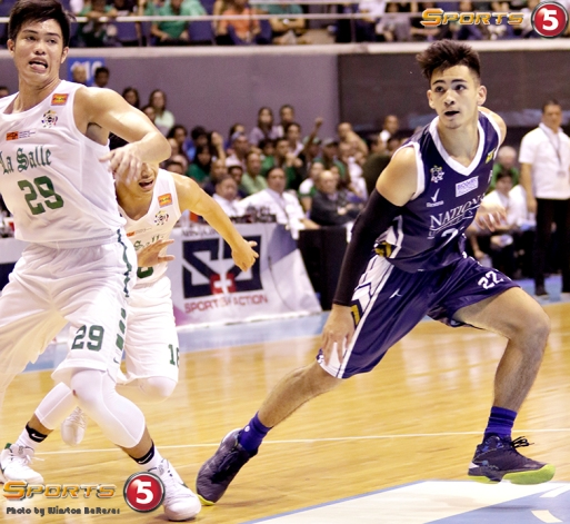 DLSU's Leonard Santillan and Kib Montalbo jockey for position with NU's Jordan Bartlett