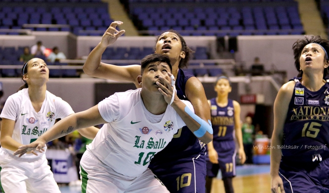 DLSU's Snow Penaranda boxes out NU's Jack Daniel Animam
