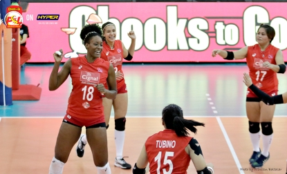 _S1A7096 Alexis Mathews and the Cignal HD Spikers celebrate a point