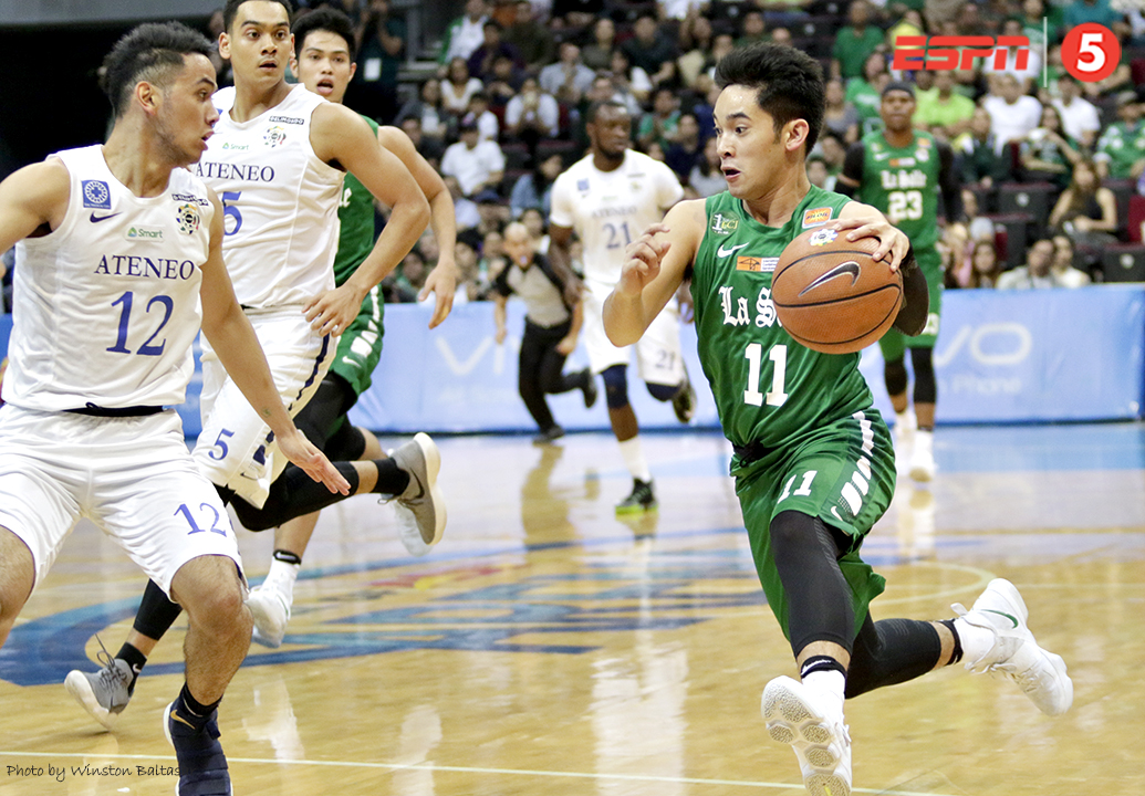 _S1A8150 DLSU's Aljun Melecio drives against AdMU's Matt Nieto