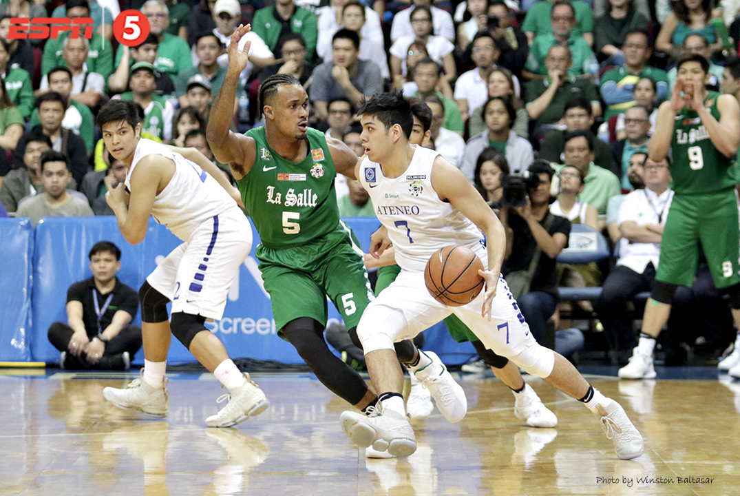 _S1A8245 Ateneo's Mike Nieto drives on La Salle's Abu Tratter