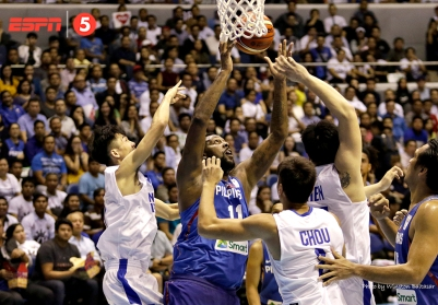 Andray Blatche gets the rebound