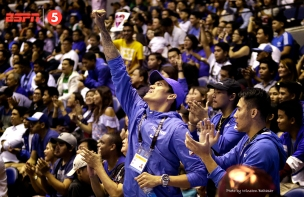 Injured Gilas mainstays Raymond Almazan, Terence Romeo, and Mac Belo support from the gallery