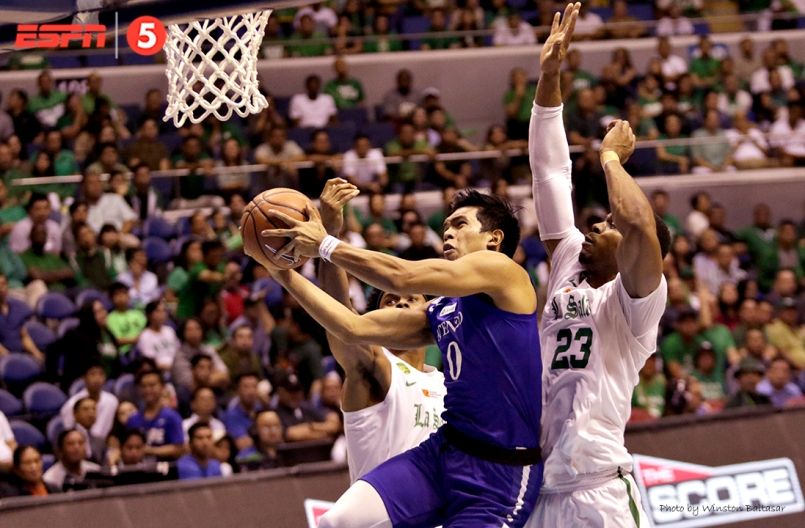 Thirdy Ravena lays up with Ben Mbala behind him