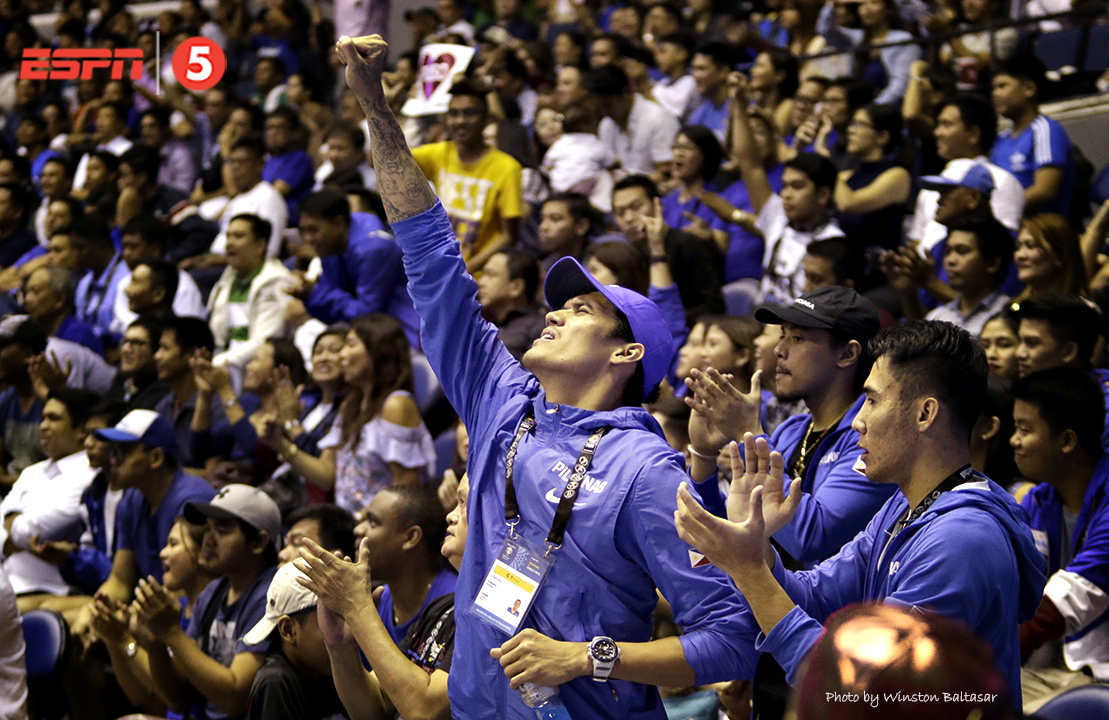 _S1A9185 Injured Gilas mainstays Raymond Almazan, Terrence Romeo, and Mac Belo cheer from the galleries